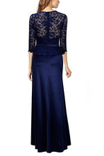3/4 Sleeves Sheath Lace Navy Blue Long Party Dress