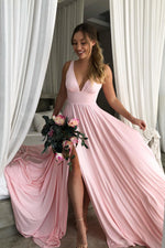 V Neck Empire Pink Bridesmaid Dress with Side Slit