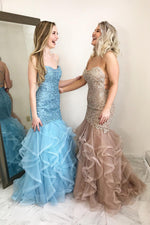 Cascading Ruffles Mermaid Prom Gown with Open Back