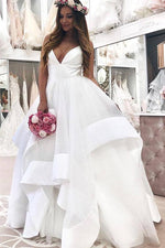 Long V-Neck A-line Straps White Wedding Dress with Ruffles