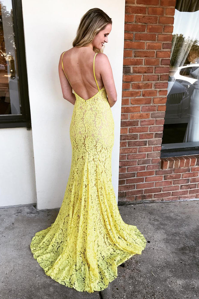 All Over Lace Mermaid Yellow Long Prom Dress with Slit