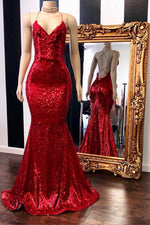 Spaghetti Straps Sequins Mermaid Long Red Prom Dress