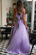 Two Piece Straps Lavender Long Prom Dress with Bowknot Back