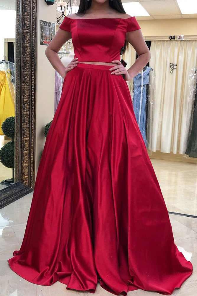 Two Piece Off the Shoulder Long Red Prom Dress