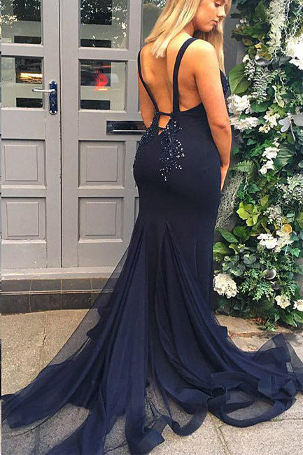 Spaghetti Straps Mermaid Dark Navy Long Prom Dress
