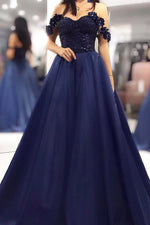 Off the Shoulder Dark Navy Long Prom Dress with Lace Top