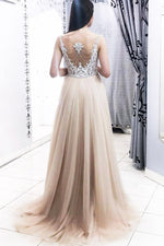 Elegant Champagne Long Prom Dress with Lace Appliques