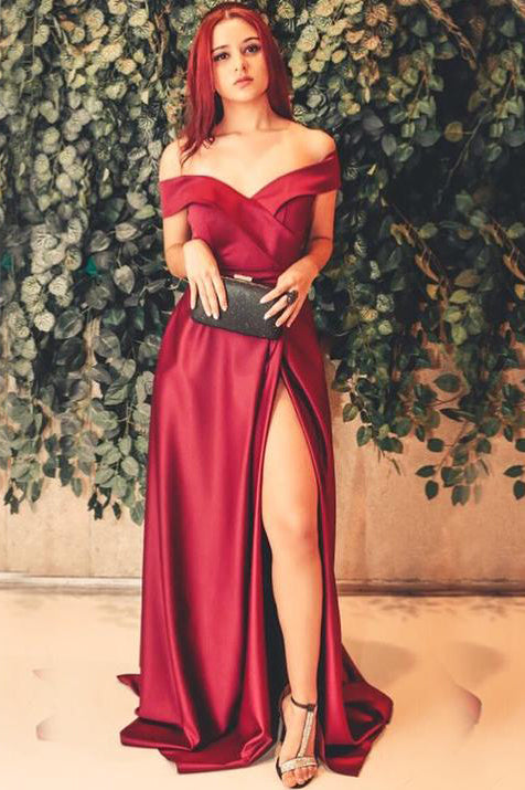 Off the Shoulder Slit-Front Burgundy Long Prom Dress