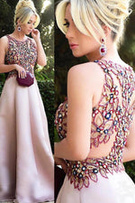 Gorgeous Beaded Floral Blush Pink Long Prom Dress