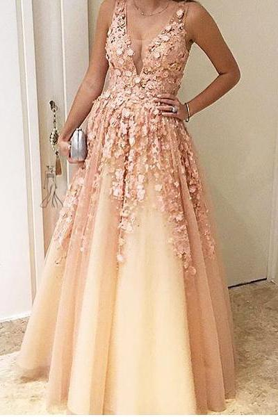 A-Line Floral Appliques Long Pearl Pink Prom Dress