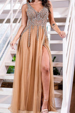 V Neck Rhinestones Gold Long Prom Dress with Slit