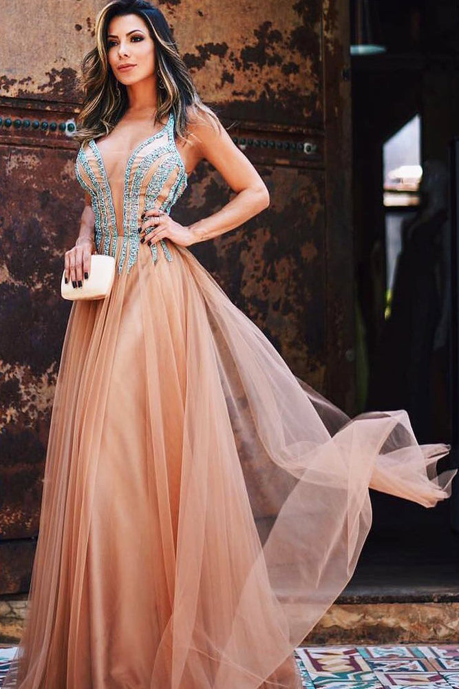 Spaghetti Straps Beaded Long Pearl Pink Prom Dress