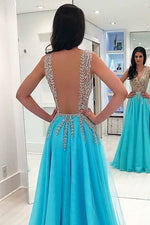 Sexy A-Line Ice Blue Long Prom Dress with Open Back