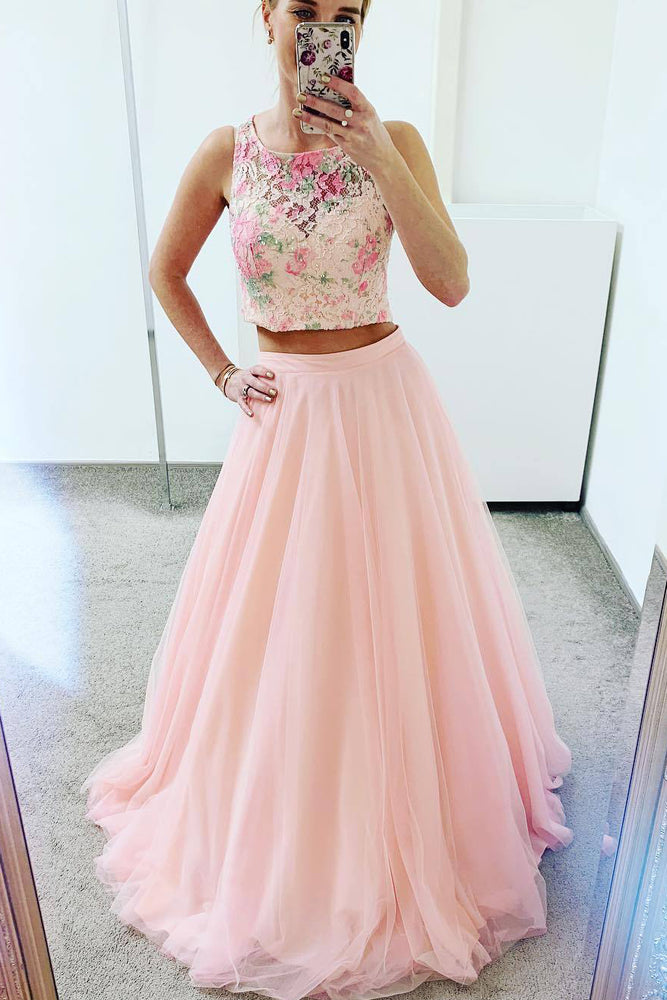 Two Piece Pink Floral Scoop Lace Prom Dress