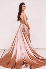 Halter Beaded Long Sweep Train Rose Gold Prom Dress