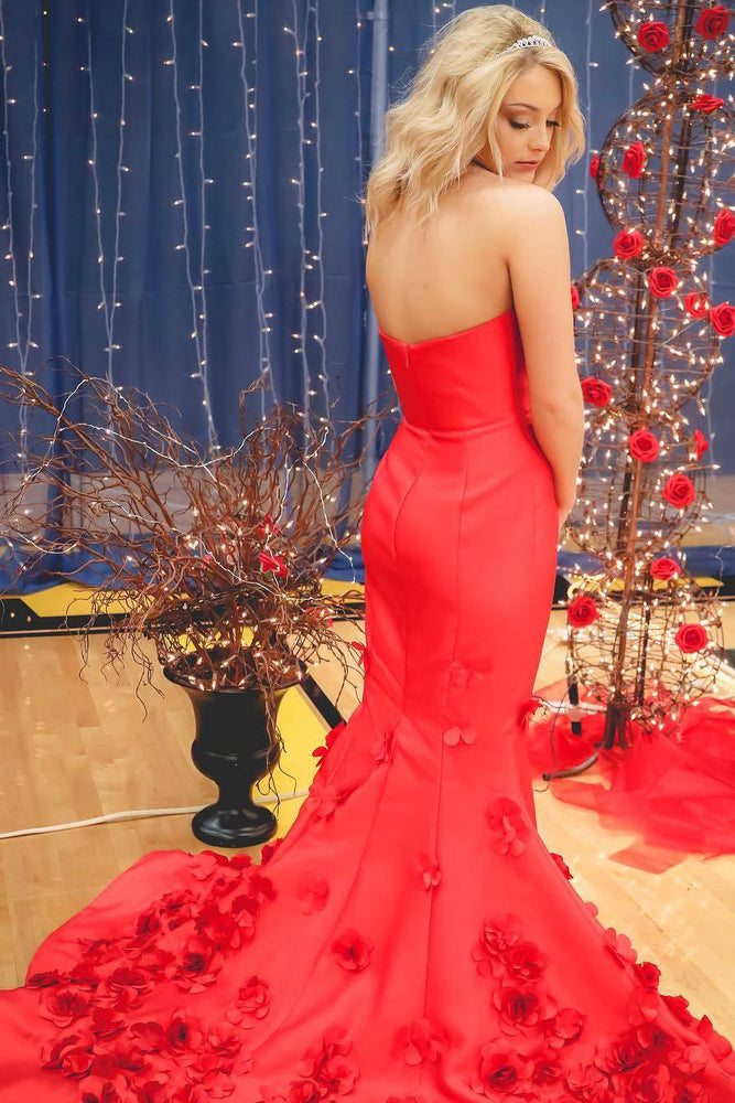 Strapless Mermaid Appliques Long Red Prom Dress
