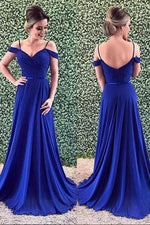 A-Line Off Shoulder Royal Blue Prom Dress with Sweep Train