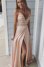 Spaghetti Straps Beaded Blush Pink Prom Dress with Slit