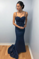 Mermaid Spaghetti Straps Beaded Dark Navy Prom Dress