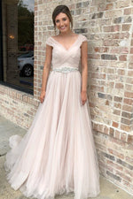 Long Cap Sleeves A-line V-Neck Baby Pink Wedding Dress