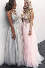 Sparkly Pink Long Prom Dress with Beaded Top
