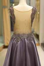 Boutique Illusion Neck Beaded Backless Long Prom Gown