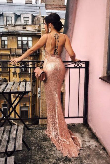 Mermaid Champagne Sequined Party Dress with Open Back