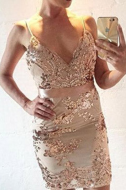 Spaghetti Straps Sequins Short Party Dress