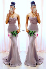 Mermaid Spaghetti Straps Lilac Long Prom Dress with Lace Top