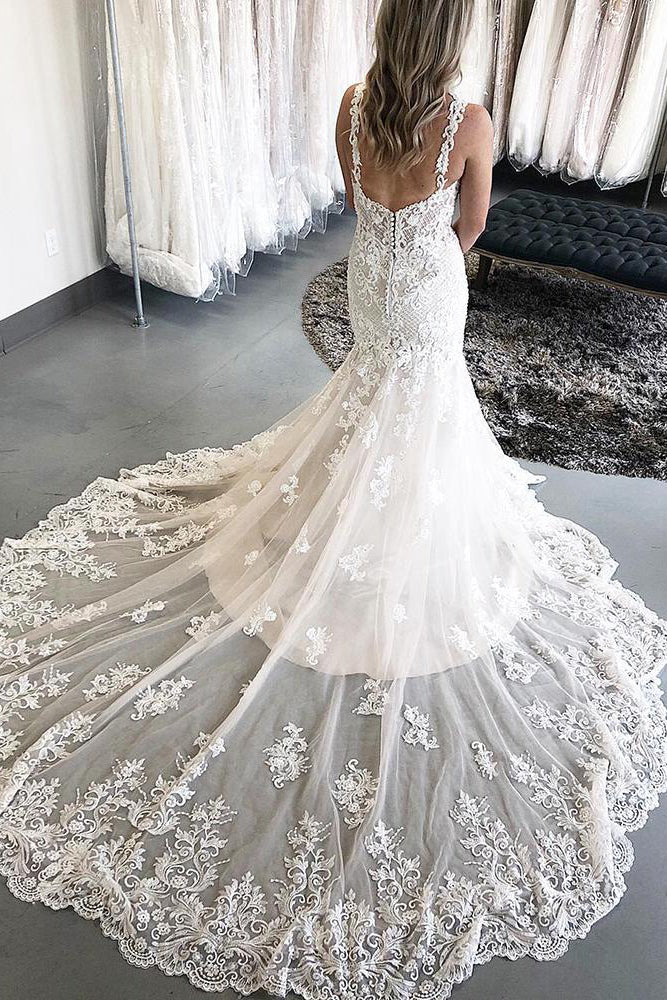 Princess Long Straps Mermaid Ivory Bridal Dress with Lace