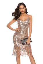 V-Back Tassel Sequins Champagne Party Dress