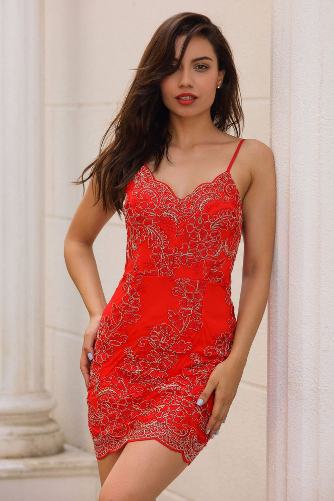 Straps Sheath Lace Mini Party Dress