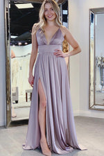 A-Line Empire Sky Blue Prom Dress with Side Slit