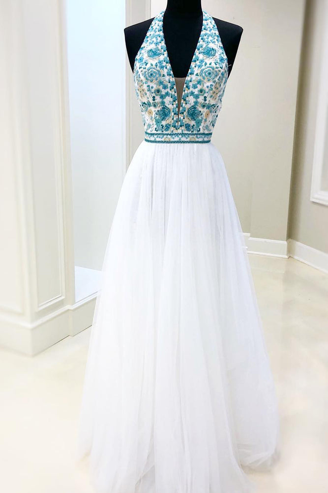Floral Embroidery A-Line Halter White Prom Dress