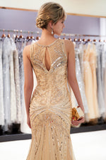 Sleeveless Mermaid Beading Long Gold Evening Dress with Keyhole Back