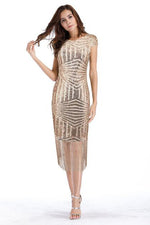 V-Back Sequins Gold Tea Length Party Dress