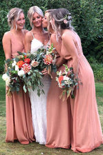 Straps Blush Pink Chiffon Floor Length Bridesmaid Dress with Slit