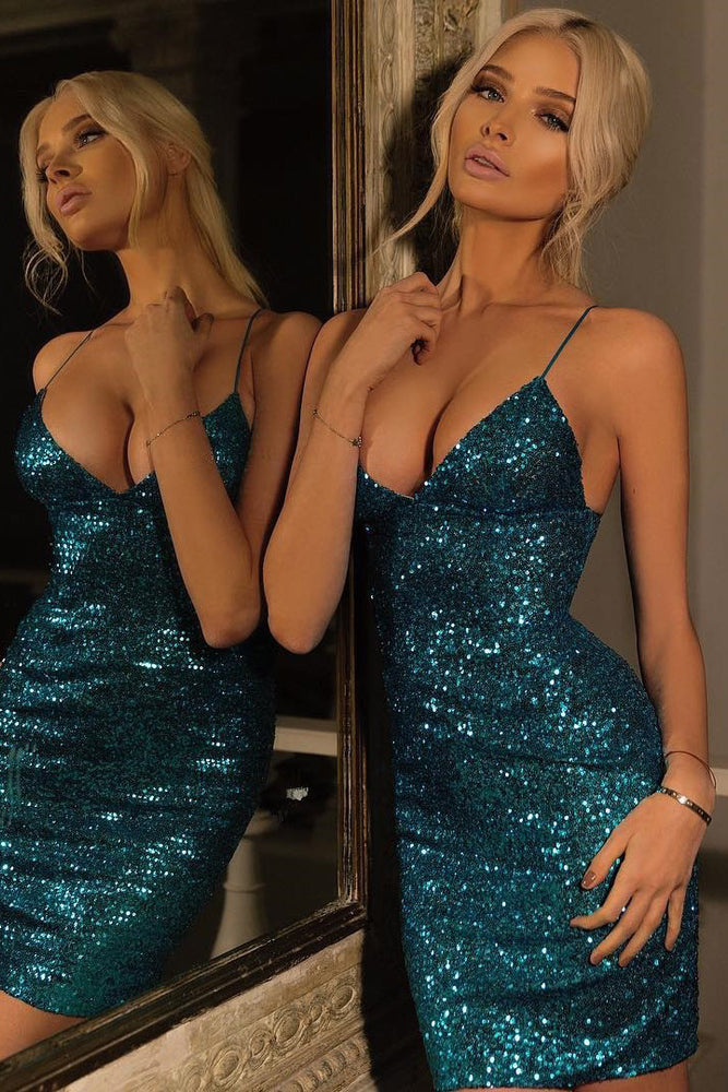 Spaghetti Straps Sequins Short Cocktail Party Dress