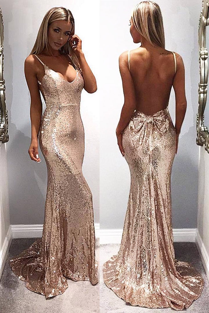 Mermaid Sequins Gold Long Prom Dress with Open Back