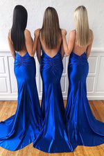 Mermaid Backless Ruched Royal Blue Long Prom Dress