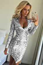 Asymmetrical Sheath Silver Party Dress with Long Sleeves