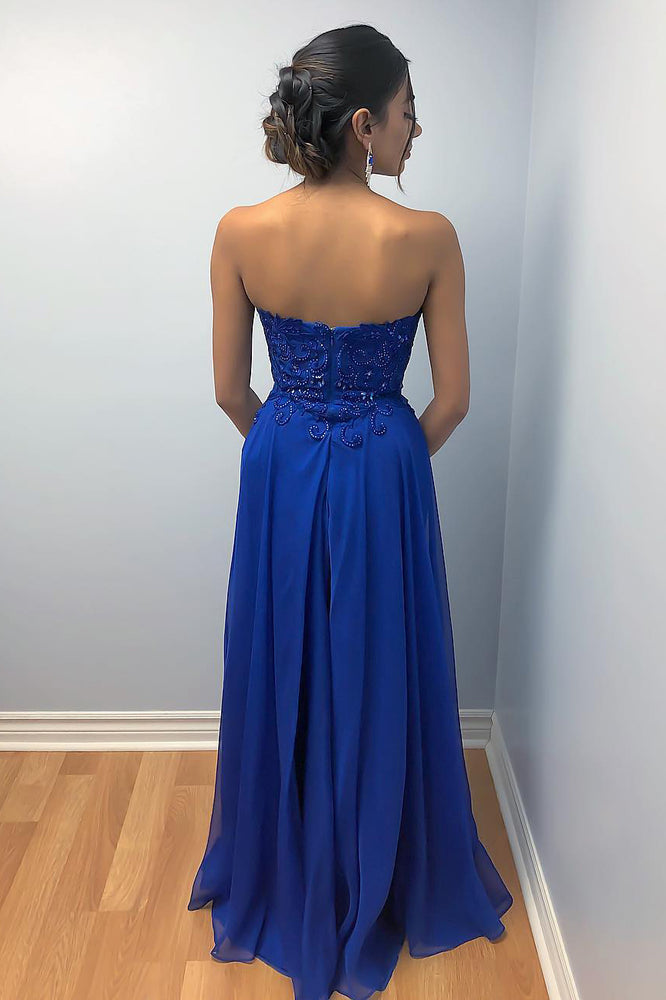 Sweetheart Beaded Navy Blue Long Prom Dress