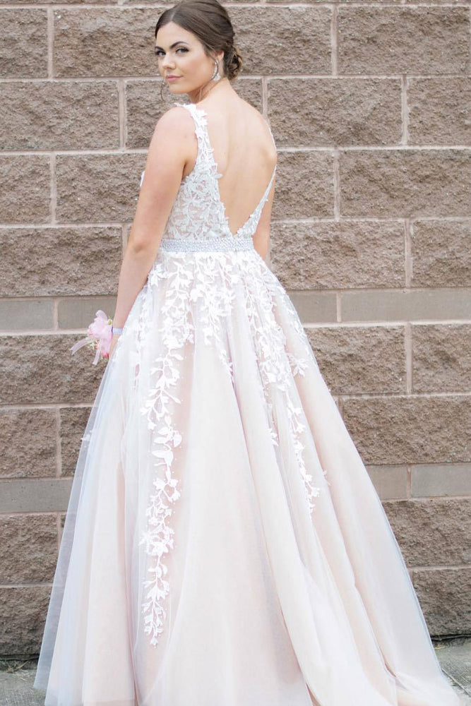 Classic Ivory Long Prom Dress with Lace Appliques