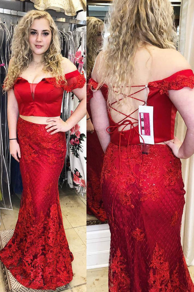 Mermaid Off Shoulder Lace-Up Two Piece Red Prom Dress with Lace