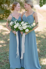 A-line Spaghetti Straps Pleated Dusty Blue Long Bridesmaid Dress