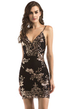 Sheath Sequins Black Mini Party Dress
