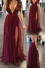 Plunging Neck Burgundy Prom Dress with Criss Back