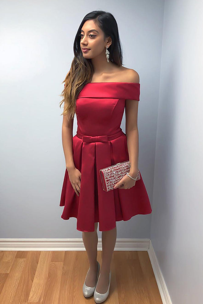Off Shoulder Red Knee Length Homecoming Dress