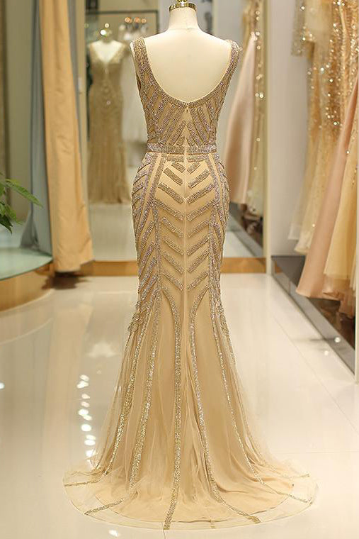 Mermaid Deep V-Neck Gold Beaded Prom Dress