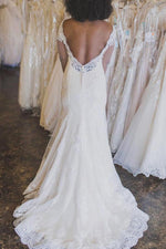 Long Sleeves Mermaid V Back Ivory Wedding Dress with Appliques